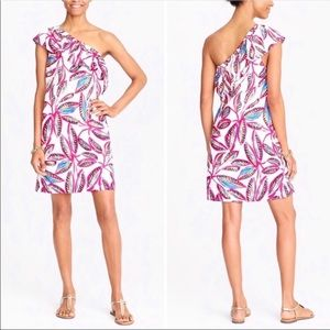 J Crew Pink and White One Shoulder Dress